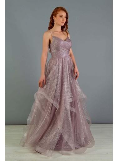 Carmen Lavanta Tül Prenses Nişanlık Abiye Elbise Mor